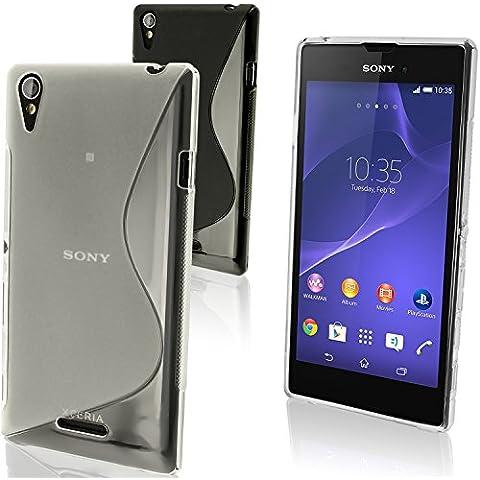 igadgitz Claro Funda S-Line TPU Gel Para Sony Xperia T3 D5102 + Protector Pantalla