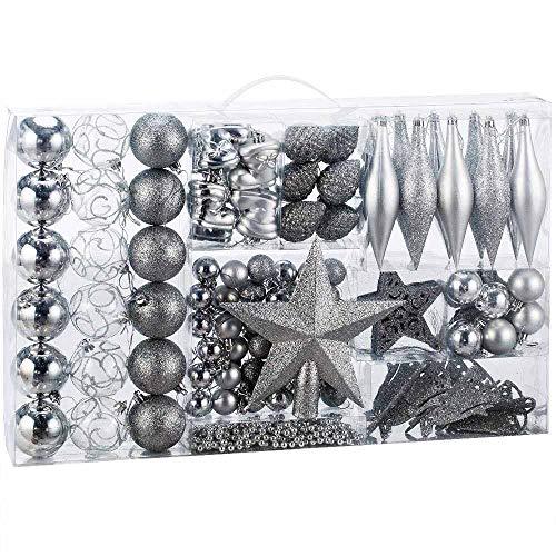 BAKAJI Addobbi per Albero di Natale 102 Pezzi Confezione Palline Calze Stelle Pigne Decorazioni Natalizie (Silver)