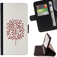 For Samsung Galaxy S5 Mini (Not S5), SM-G800 Case , Albero di arte fruttuosa Red Bush rossa di autunno - Portafoglio in pelle della Carta di Credito fessure PU Holster Cover in pelle case