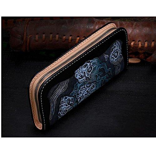 Xiaopangzi main Portefeuille en cuir véritable Portefeuille sculpté Motif Skull Diable Wallet pour les hommes et les garçons (J) J