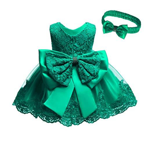 Baby Gaga Kostüm - Gaga city Mädchen Kleid Baby Ärmellos Prinzessinen Kleider mit Bowknot Säugling Partykleidung Kinder Formal Kostüm Dunkelgrün/100