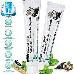 Kokosnuss Aktivkohle Zahnpasta Schwarze Whitening Zahncreme ohne Fluorid -Natürliche Zahnaufhellung und Zahnreinigung Charcoal Toothpaste -Bleaching Kohlen Zahnpasta -Aktivkohle Zahncreme 2Stück