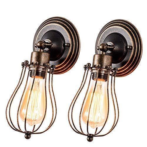 Apliques de Pared Vintage Ajustable Metal Lampara 2 Packs Rustica Retro Lámpara Industrial de Pared E27 para la Salon, Cocina, Desván, Restaurante, Cafe, Club Decoración(Bombillas No Incluidas)