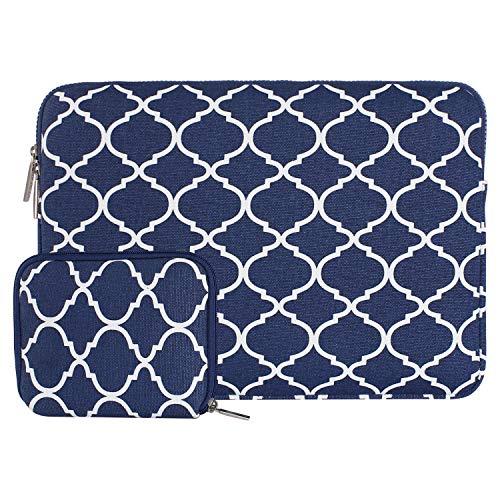 MOSISO Laptop Sleeve Canvas Geometrische Muster Tasche mit Kleiner Tasche Blau Navy Blue Quatrefoil 13 Inch