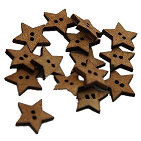 Viskey Pack of 50 Flower Print 2 Holes Wooden Star