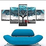 lkfqjd Leinwand GemäldeWohnzimmer Dekor 5 Stücke Blau Big Tree Red Stuhl Bilder Abstrakte Landschaft Poster Wandkunst Kein Rahmen