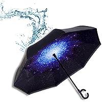 TOPHGDIY Paraguas Invertido Estrellas Doble Capa Fuerte Automático Grande Impermeable Antiviento Para el coche Regalos Mujer