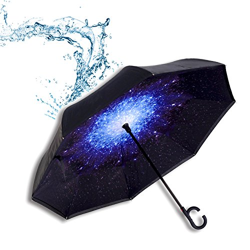 Reversion Regenschirm Herren automatik Stockschirm Schirm Damen Schwarz Groß TOPHGDIY - Winddicht Golfschirm Double Layer Innovativ mit C Griff inverted Reverse Umbrella Blau Sterne Galaxy