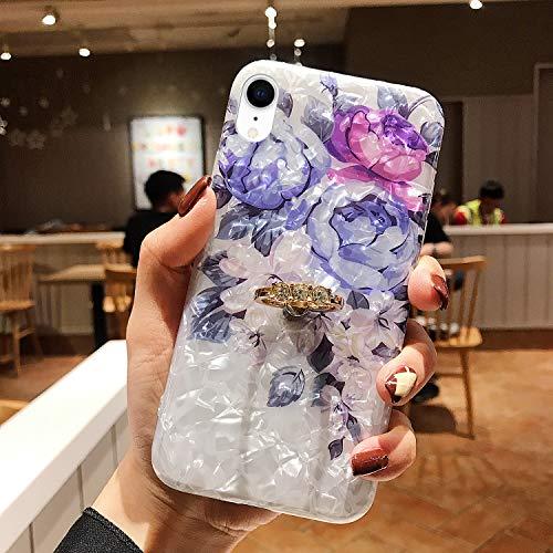 Uposao Kompatibel mit iPhone XS Max Hülle Silikon Ultra Dünn Handyhülle 3D Blumen Bunt Muster TPU Schutzhülle Tasche Case mit Glänzend Glitzer Strass Diamant Ring Ständer Halter,Blau