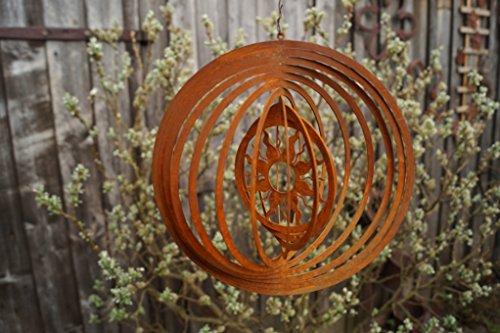 Edelrost Windspiel Sonne Garten Spiralen Fenster 18cm Terrasse Kreis Deko Hänger - 2