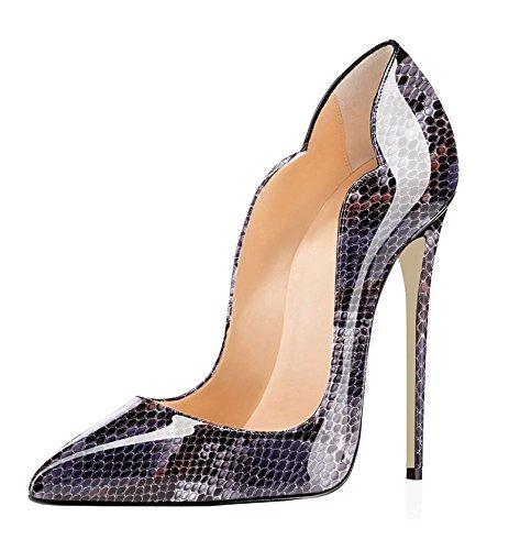 EDEFS Damen High Heels Stilettos Slip-on Pumps Spitze Zehen Sexy Übergröße Schuhe Python-purple EU37 (Python-spitze)