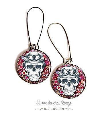 Boucles d'oreilles cabochon, Tête de mort, fleuri, skull, gothique, hippie chic