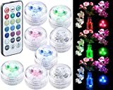 Lunartec LED Unterwasser Lichter: 8er-Set Mini-LED-Unterwasser-Dekolichter, RGB, dimmbar, Fernbedienung (Pool-LED)
