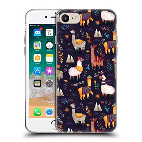 Offizielle Oilikki Lamas Tiermuster Soft Gel Hülle für Apple iPhone 7