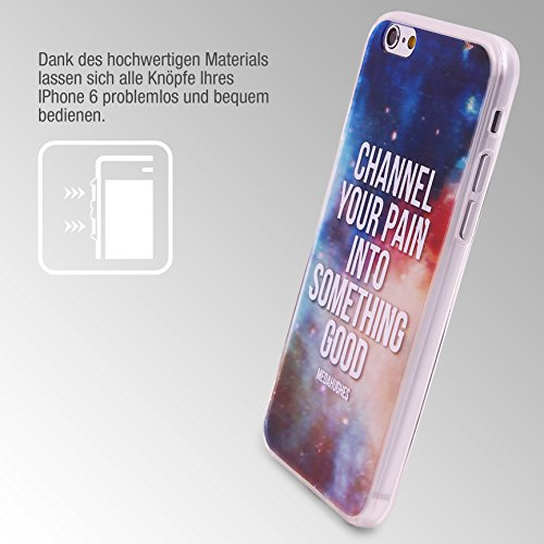 Urcover® Semi Softcase Hülle | Apple iPhone 6 / 6s | TPU Muster Berge | KAMERASCHUTZ | Handyhülle | Cover Back-Case Handyschutz Channel your pain