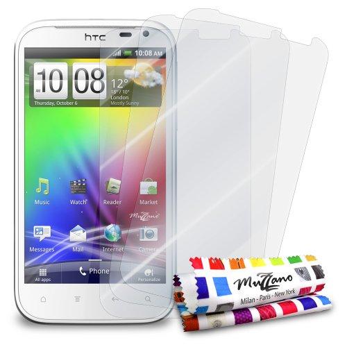 MUZZANO - Set di 3 pellicole protettive per display ultra trasparenti, per cellulare/tablet HTC SENSATION XL trasparente