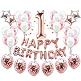 Birthday Balloons 37PIECE/set con 1anno Style banner rose Gold Star confetti elio palloncini per feste e decorazioni per feste