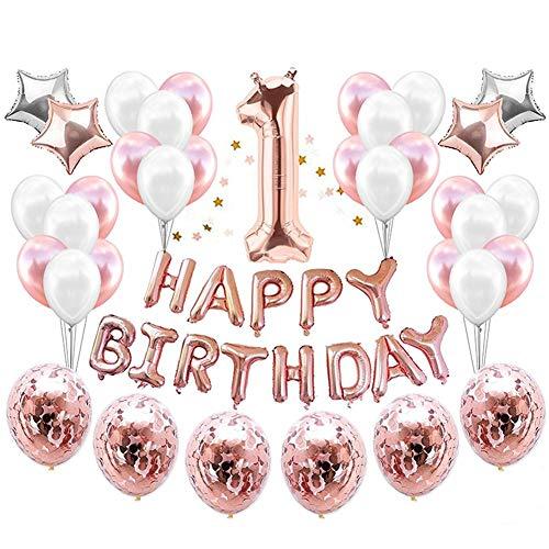 Geburtstags-Ballon dekoration Konfetti Ballo set lieferungen und rose gold partydekorationen Rose gold konfetti luftballons Party dekoration HAPPY BIRTHDAY für 1-jähriges Baby Roségold Silber