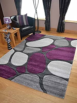 Purple Silver Pebbles Thick Quality Modern Carved Rugs Runner Small Extra Large Soft Mat Cheap - cheap UK light store.