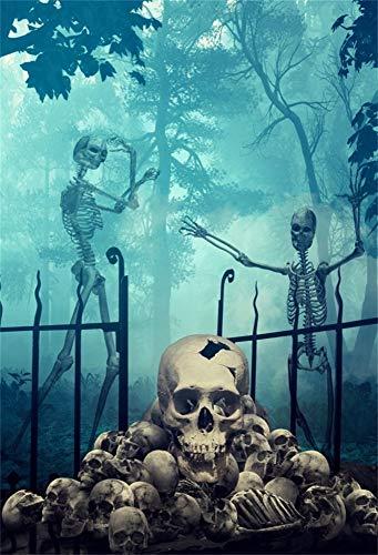 YongFoto 1x1,5m Vinyl Foto Hintergrund Horror Schädel Skelette Gruseliger Friedhof Halloween Hintergrund Fotografie Hintergrund Backdrop Fotostudio Hintergründe Requisiten