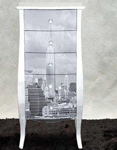 Poitrine de tiroirs avec 5 tiroirs Argent New York 48 x 36 x 100 H