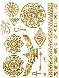 Tatuajes temporales de oro egipcio con diosa y rosetón para hombre y mujer, con tatuaje temporal, 21 x 15 cm