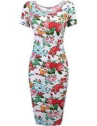 804be51457a57 HOTOUCH Femme Robe Crayon Fleur Vintage Manche Courte Slim Fit Midi