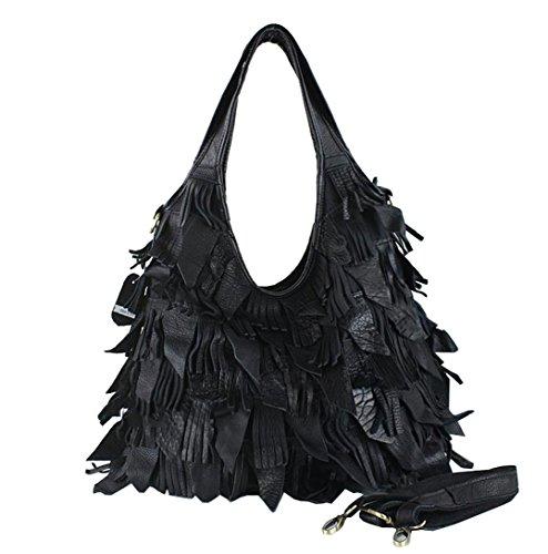 Greeniris Damen Hobo Schultertasche Leder Handtasche für Frauen Schwarz1