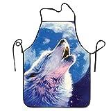 NORSGT Delantal de Cocina Unisex con Diseño de Lobo con Luna, con Cuello Ajustable para...