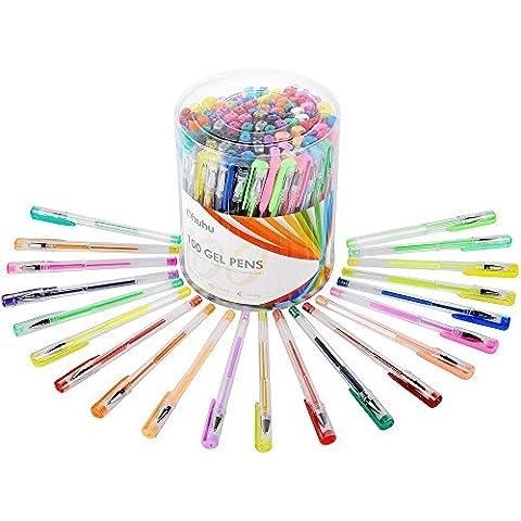Ohuhu® Penne Inchiostro Gel Set 100 Colori per Colorazione/ Schizzo/