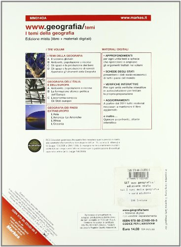 WWW.geografia/temi. Vol. A: I temi della geografia. Per gli Ist. tecnici. Con espansione online