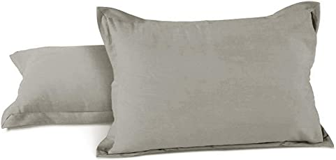 AURAVE Solid Plain Premium Mercerised Cotton Pillow Covers (Set of 2)