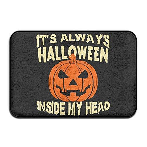 UYTGYUHIOJ Inside & Outside Carpet Entrance Mat It's Always Halloween Inside My Head Design Pattern for Hallway (Zu Niedliche Machen Halloween-ideen Zu Hause)