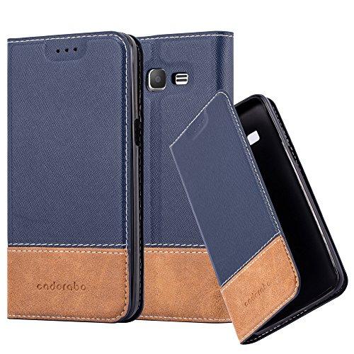 Cadorabo Hülle für Samsung Galaxy Grand Prime - Hülle in BLAU BRAUN - Handyhülle mit Standfunktion & Kartenfach aus Einer Kunstlederkombi - Case Cover Schutzhülle Etui Tasche Book