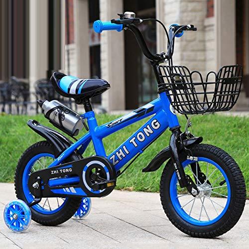 """KY Kinderfahrrad Kinder Kinder Bike In Größe 12"""" 14"""" 16"""" 18"""" mit Stabilisatoren und Basket, Wasserflasche (Color : Blue, Size : 14inch)"""