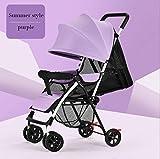 baby stroller Ultraleichter Tragbarer Kinderkinderwagenkindersitzen Lüge Sommer und Sommer Einfacher Faltender Babybabyvierrad-Regenschirm,4