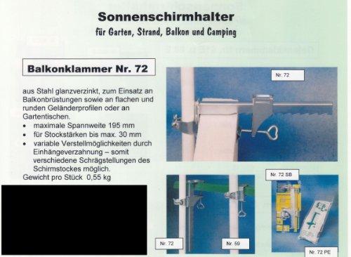 Sonnenschirmhalter - Brüstungs und Balkonklammer Nr. 72 SC - STABIELO + RÄNDELMUTTER +...