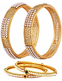 Zeneme Combo Of Broad Pearls Bangle Set And 2 Pearls Bangle Set For Women - Pack Of 4…
