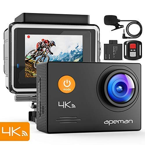 APEMAN Action Cam 4K HD WiFi 16MP con Telecomando e Microfono Esterno 40M Impermeabile Fotocamera Subacquea EIS Stabilizzazione Videocamera Time Lapse Slow Motion con 2 Batterie e Accessori Kit