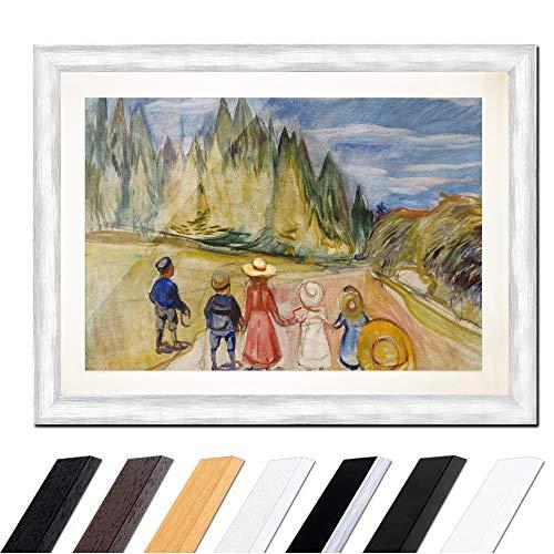 Kostüm Expressionistische - Bild mit Rahmen - Edvard Munch The Fairytale Forest - Der Märchenwald 80x60cm ca. A1 - Gerahmter Kunstdruck inkl. Galerie Passepartout Alte Meister - Rahmen Silber