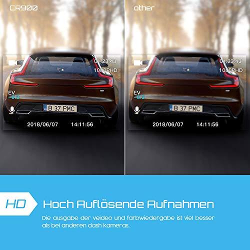 Crosstour Dashcam 1080P Full HD Vorne und Hinten Dual Lens, Externe GPS Auto Kamera, 170 ° Weitwinkelobjektiv HDR Nachtsicht, Bewegungserkennung G-Sensor Loop-Aufnahme - 4