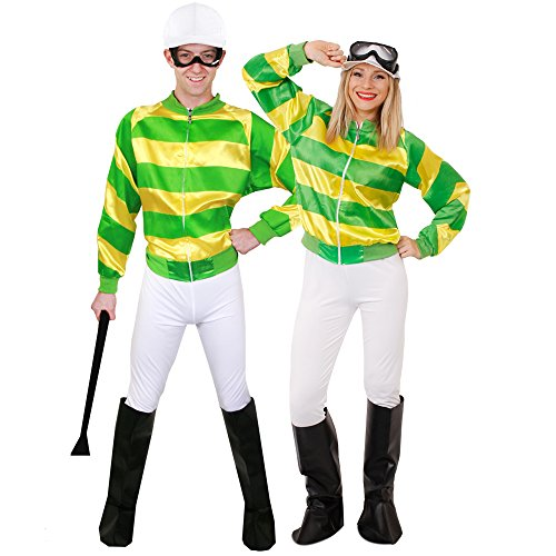 Adult Horse Jockey Couples Costumes, Unisex. Green and Yellow Striped