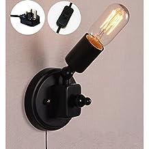 fsliving–Lámpara de pared 1W Plug-in CE Listed, bombilla no incluida, metal negro Industrial lámpara de pared de 6pies Cable Negro (bd0224)