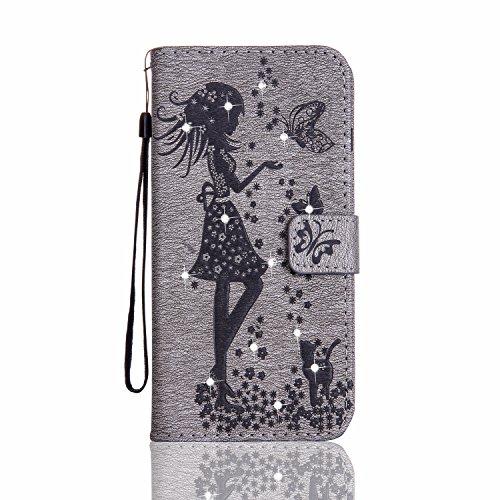 Für Samsung Galaxy J2 Prime Case, geprägtes Girl Pattern Rhinestone PU-Leder Brieftasche Cover Case Horizontale Flip Stand Case mit Halter & Lanyard & Card Slots ( Color : Purple ) Gray