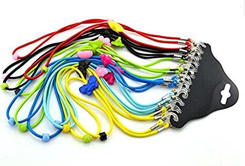 Brillenkette Kette verstellbar Elastic Nylon Neck Cord Lanyard Grün Kunststoff Gläser Halterung für Kinder Farbe zufällige 6pcs