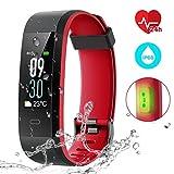 Fitness Tracker Farbe Bildschirm Activity Tracker mit Uhr Herzfrequenz Monitor/IP68Wasserdicht (Schwimmen unterstützt)/14Trainingsmöglichkeiten/Sleep Monitor/Wettervorhersage/SMS/Nachrichten für Facebook Twitter und WHATSAPP etc., für Android und IOS