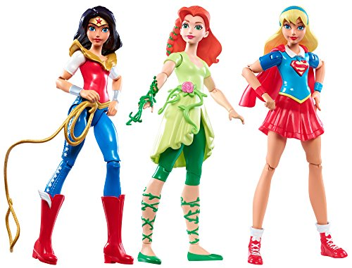DC Super Hero Girls - Actionfiguren, 3-tlg. Wonder Woman, Super Girl und Poison Ivy (Wonder Woman Kids Outfit)