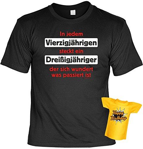 Geschenk 40 Set T-Shirt 40.Geburtstag + Minishirt : In jedem Vierzigjährigen steckt ein