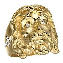 Idea Regalo - JAJAFOOK gioielli vintage da uomo Gesù croce religione anello placcato oro in acciaio INOX Band 24mm e acciaio inossidabile, 24,5, colore: Golden, cod. H-801-A638