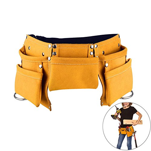 (Yellow) - Children's Leather Tool Belt, DesignerBox Kids Leather Working Tool Belt Child's Tool Apron Pouch Bag for Youth Costumes Dress Up Construction Role Play (Yellow) - Stahl-buchse Lager